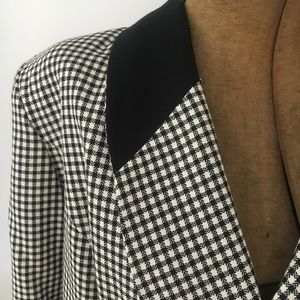 Vintage 80s B&W Plaid Blazer with Gold Buttons